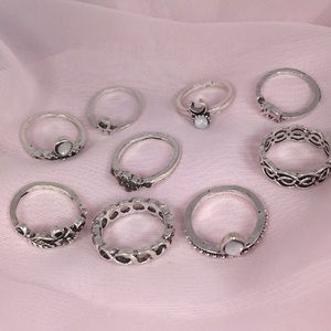 9pcs SILVER BOHO STACK RINGS